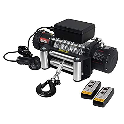 Ayleid 12V 13000lb Electric Winch Waterproof IP67 for Truck ATV SUV with Steel Rope Wireless Remote Control?Grind Arenaceous Black