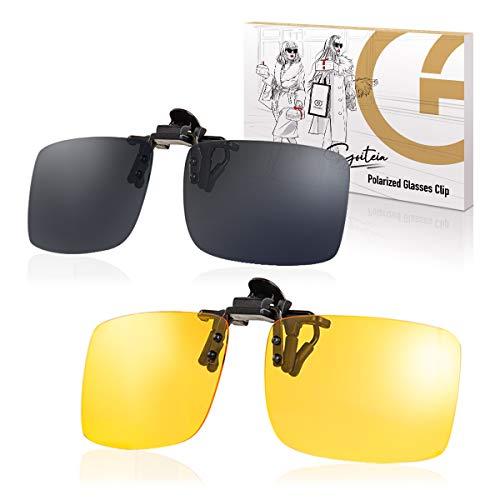 2-Pack Polarisierte Nachtfahrbrille+Sonnenbrille Clip Herren Damen für Brillenträger zum Autofahren Blendschutz, Flip-up Aufsteck Sonnenbrille Aufsatz für Brillenträger zum Autofahren Radfahren