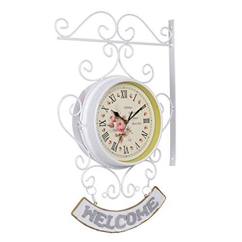 shabby orologio da parete Yardwe Orologio da Parete Bifacciale Orologio da Parete Vintage con Cartello di Benvenuto per Negozio di Ristoranti di Hotel di Casa (Senza Batteria)