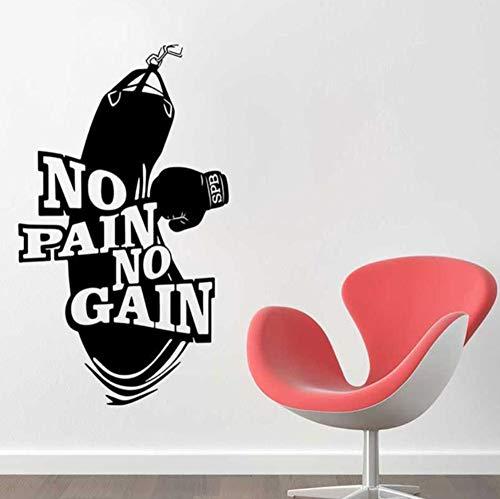 ZJfong 42 x 72 cm Geen pijn geen wind vinyl wandtattoo decoratie kunst workout fitness bokshandschoenen bokszak muursticker muurschildering