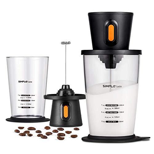 SIMPLETASTE Mousseur de Lait Electrique avec Bécher, Mains Libres, Mousseur à Fouetpour Nespresso,Cappuccino et Café, Fonctionne avec 2 Piles AA(Non Inclues)