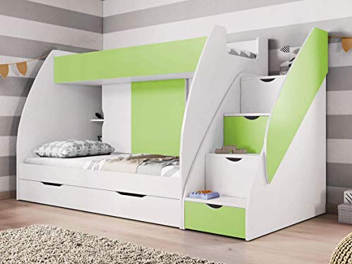Bunk Beds, With Drawers And Storage In Green