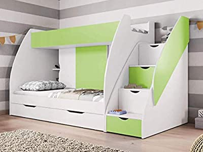 FAST&FREE DELIVERY BRAND NEW BUNK BEDS , 2 x NEW BONNELL MATTRESS INCLUDED!!! WITH DRAWERS AND STORAGE IN GREEN