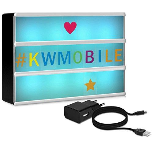 kwmobile Farbwechsel LED Lichtbox A6-7 Farben 126 bunte Buchstaben USB Netzteil - Cinema Lightbox - Deko Licht Leuchtkasten - Light Box Leuchte