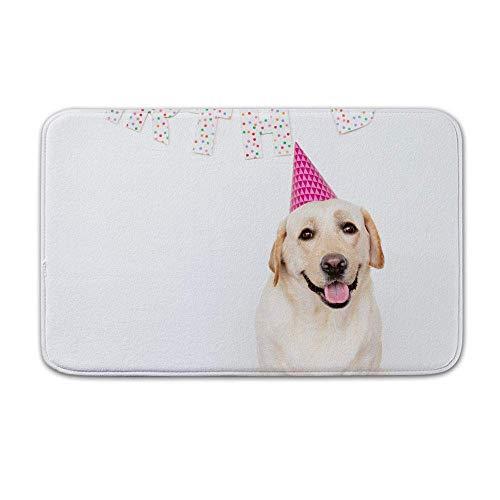 Alfombra de baño Antideslizante Decoración de baño occidental Alfombra de baño fresca Alfombra Alfombra de microfibra Perro Cumpleaños Feliz cumpleaños Perro perdiguero de oro Perro feliz Perro con un
