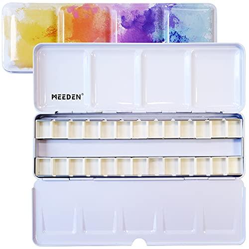 MEEDEN Empty Watercolor Tin Box Palette Paint Case, Medium Colorful Tin with 24 Pcs Half Pans
