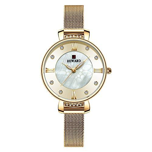 YIBOKANG Moda para Mujer Casual Rhinestone Rhinestone Digital Impermeable Reloj De Cuarzo Creativo Dial Pequeño Cinturón De Malla De Acero Inoxidable Hermoso Regalo Reloj De Moda (Color : 3)