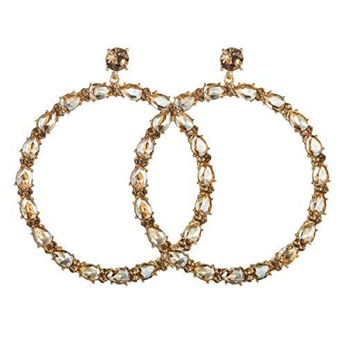 N/A - Pendientes hipoalergénicos para mujer con diamantes de cristal exagerado y diamantes de talla grande, pendientes de diamantes con diseño de diamantes