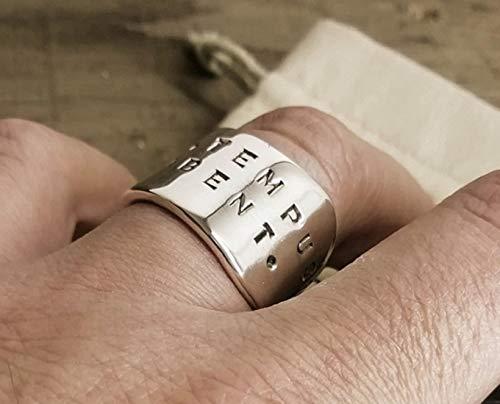 Männer 925 Silber Ring, Personalisierbar, Verstellbar mit Öffnung, Bestes Geschenk Für Männer, Ringgröße 69 (22)