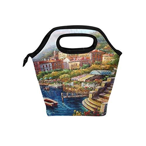Eslifey Como Lake Lunch-Tasche, tragbar, mit Reißverschluss, für Reisen, Picknick, Schule, Handtaschen für Büro