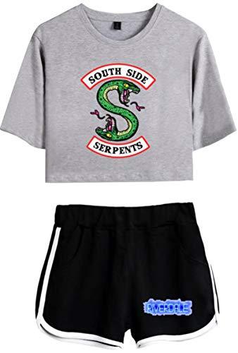OLIPHEE OLIPHEE Kurzarm Rundhals T-Shirt + Kurze Hose Bekleidungssets für Mädchen mit Riverdale Southside Serpents Aufdruck Streetwear Anzug Grau Schwarz S