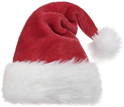OPOLEMIN Santa Hat for Adults, Christmas Hat Plush Red Velvet & Comfort Liner Christmas Halloween Costume (Red)