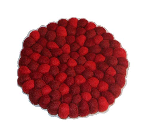 Generische Filzkugel Untersetzer/Wohndesign / Dekoration/Homedecor / Interiordesign/Tischdeko / Lifestyle – Wolle – handgemacht in Nepal – rot, rund, 16cm