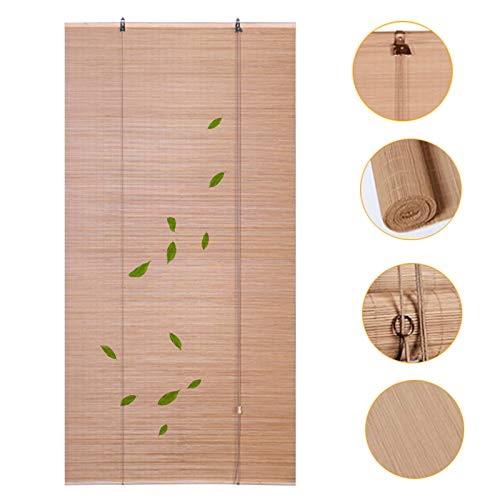 HWJ Bamboo Roller Blind, Outdoor Light Filtering Shades, Natural Sun Shade Bamboo Curtain, for Balcony Patio Sliding Door, W130×H140cm(W51×H55 Inch)