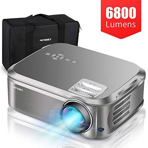 HUREMER Beamer Video Full HD LED 6800 Lumen 1080p (1920 x 1080) 4 K unterstützt, Trapezkorrektur 4D, HiFi Stereo, Multimedia Video-Projektor tragbar für Heimkino und Büro