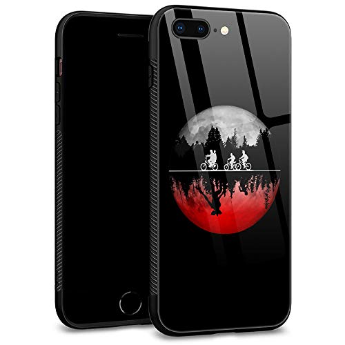 iPhone 8 Plus Case,iPhone 7 Plus Case,9H Tempered Glass Back Shell Pattern Designed with Soft TPU Bumper Case for Apple iPhone 7 Plus/iPhone 8 Plus Cases -The Bicycle Monster