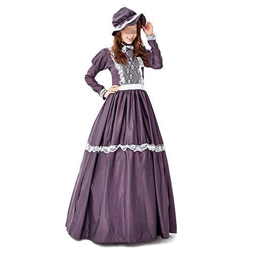 HALLOWEEN-COSTUMES Paars Retro Lange Kostuum, Grote Maat Prinses Retro Hof Jurk Dame Jurk Boerderij Draag Volwassen Kostuum, Met Hoed