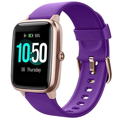 YAMAY Smart Watch Fitness Tracker Watches for Men Women, Fitness Watch Heart Rate Monitor IP68 Waterproof Watch with Step Calories Sleep Tracker, Smartwatch Compatible iPhone Android Phones (Purple)