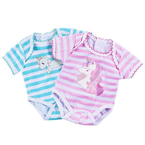 FGen Strampler für 43cm Puppen, 2pcs Puppenkleidung für New Born Baby Doll , Puppenkleidung, Puppen Strampler, Baby Born anziehsachen, Babyrock, Weicher Und Bequemer Anzug Für Neugeborene