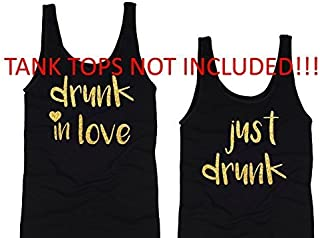 drunk in love just drunk iron on decal transfer / bachelorette glitter diy t-shirt designs / heat transfer decals / gold or silver color