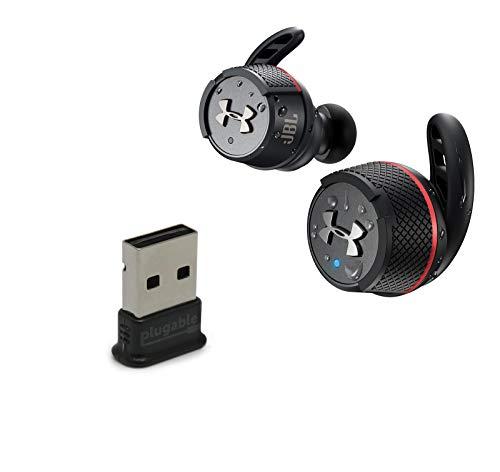 JBL UA Flash True Wireless Bluetooth in-Ear Headphones Bundle with Plugable USB-BT4LE USB 2.0 Bluetooth Adapter - Black