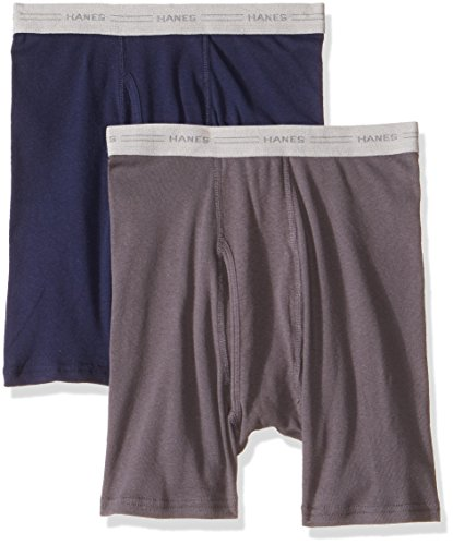 Hanes Red Label Boxer tipo Trusa para Caballero , Paquete de 2, Azul Marino/Gris Oxford L (colores…