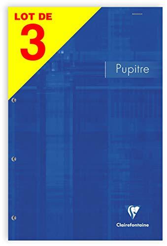 Clairefontaine réf 66135AMZC - Un lot de 3 blocs agrafés en tête 160 pages détachables perforées 4 trous 21x31,8 cm 90g lignées, Couverture carte couleurs assorties aléatoires