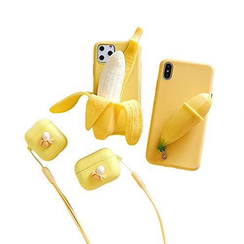JINGJINGJIAYOU aliviar la ansiedad 3D Plátano de Fundas y Carcasas para teléfonos móviles iPhone 11 Pro MAX Adecuado para Todos Los Modelos De La Serie iPhone anticaída Funda de Silicona Suave