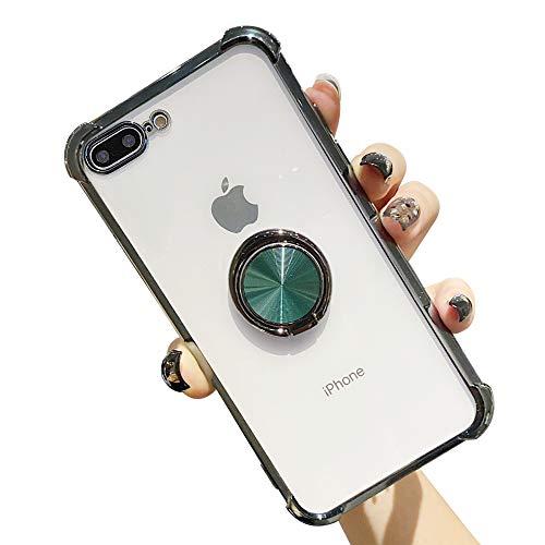 Suhctup Coque Compatible pour iPhone 7+ Plus/8+ Plus avec Support,Etui Case Transparent Silicone TPU Gel [Angles Renforcés] Antichoc Housse Cover avec 360° Support de Voiture Magnetique,Vert