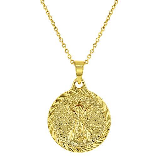 In Season Jewelry - Medalla de protección infantil chapada en oro de 18 quilates para niños, 16 pulgadas