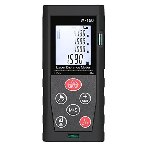 Distance Meter,150 m / 492 pies m/pulg./min Medidor de distancia láser digital de mano con retroiluminación LCD 2 Niveles de burbuja Buscador de rango Diámetro Distancia Área Medición de volumen