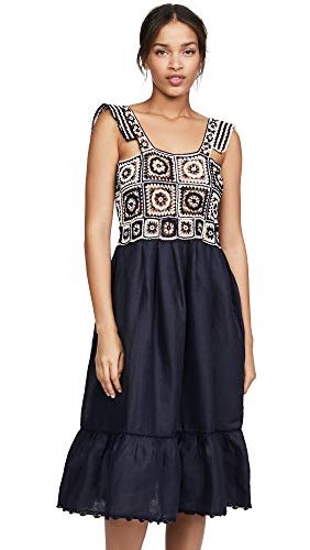 Carolina K Women's Kuna Crochet Dress, Terracotta Tile Blue, Medium
