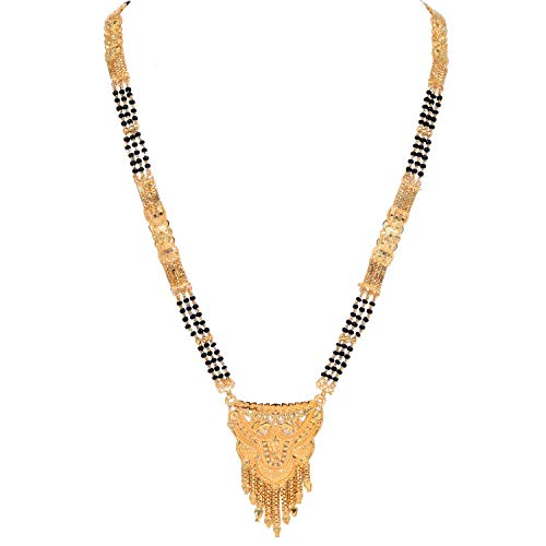 SANARA Indian Bollywood Gold Plated Black Bead Chain Indian Mangalsutra Necklace Jewelry