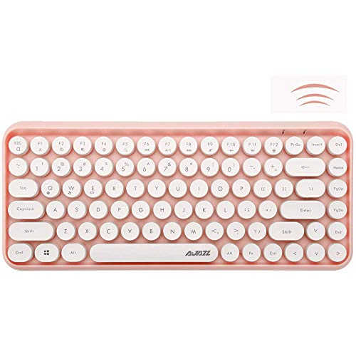 Wireless Bluetooth Keyboard, Mini Portable 84-Key Typewriter Retro Round Keycaps Keyboard,Compatible with Android, Windows, PC, Tablet-Dark, Perfer for Home and Office Keyboards(Pink)