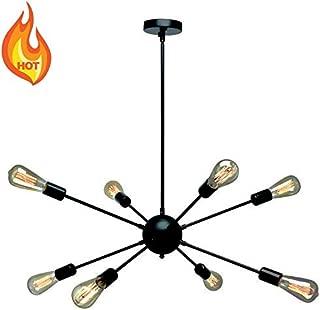 KOSTOMO 8 Light Black Sputnik Chandelier Oil Rubbed Bronze Ceiling Light Fixtures Industrial Pendant Lights Modern Chandelier Lighting Kitchen Dining Room Bed Room Hallway (Black)