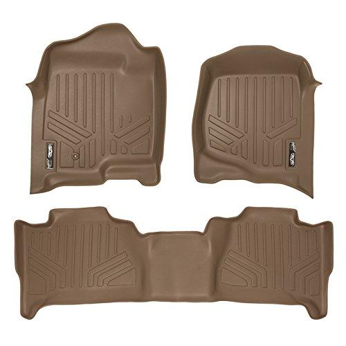 MAXLINER Floor Mats 2 Row Liner Set Tan for 2007-2014 Cadillac Escalade (No Hybrid Models)