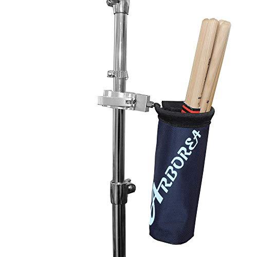 Arborea ドラムスティック ホルダー ドラムスティック バッグ 12ペア収納可能 ナイロン素材 アルミニウム合金 (ブラック)