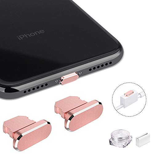 VIWIEU Metal Anti Dust Plugs for iPhone 11 iPad Airpod, 2 PCS Aluminum Lightning Charging Port Cover Compatible with iPhone X, XS, XR, 8, 7, 6 Plus, Max, Pro, with Holder and Storage Box (Rose Gold)