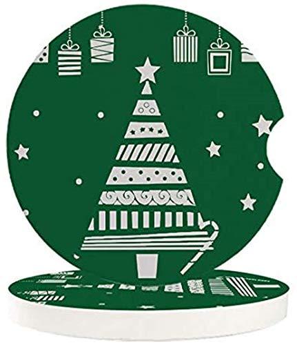 Posavasos absorbentes para coche, 4 piezas, árbol de Navidad y estrellas, decoración de regalo absorbente de piedra de cerámica con una muesca de dedo para fácil extracción del portavasos automático