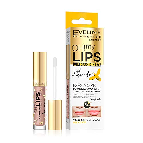 Eveline Cosmetics Oh! My Lips Volumizing Lip Gloss Maximizer with Bee Venom and Hyaluronic Acid   4,5 ml   Lip Enhancer for Fuller Softer Lips   Instant Effects Lip Plumper   Pleasant Scent