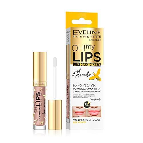 Eveline Cosmetics Oh! My Lips Lipgloss Dickere Lippen mit Hyaluronsäure und Bienengift | 4,5 ml | Lip Plumper für Mehr Volumen | Vollere Lippen | Lippenpflege | Seidenglanz