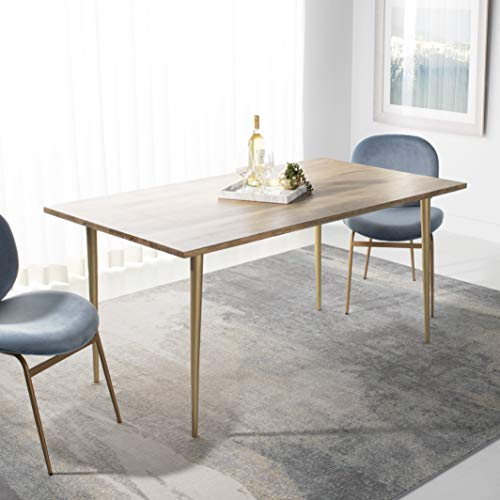 Safavieh Home Collection Stanley Wood & Brass Dining Table, Natural Mango/Brass