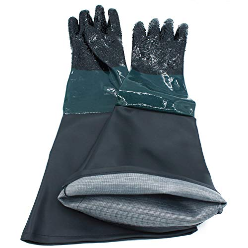 "ColouredPeas 23.6"" Sandblasting Protection Rubber Gloves for Sandblast Cabinets"