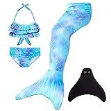 Wishliker - Disfraz de sirena con cola, bikini y aleta para niña (conjunto de 4 piezas) A6blau+xiaohei 130 cm