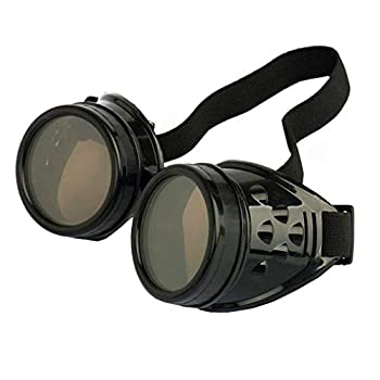 WEICHUAN New Sell Vintage Steampunk Goggles Glasses Cosplay Punk Gothic Black