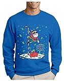 Green Turtle Sudadera para Hombre - Jersey Navidad Hombre Regalo Navidad Divertida - Santa North Pole Dancing - Medium Azul