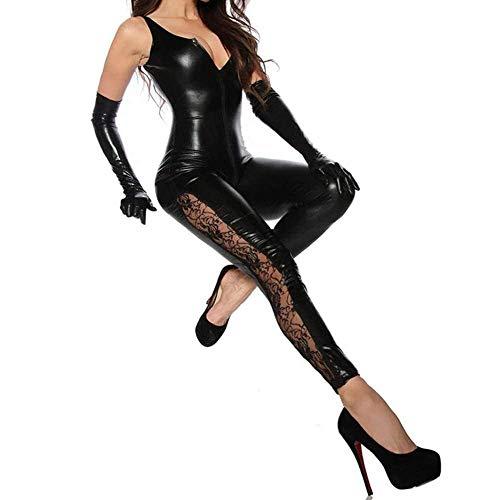 LXZH Body de Metal para Mujer, Aspecto Mojado de PVC, Mono de Piel sintética, Pantalones con Cremallera Frontal, Mono de látex, Adecuado para Ropa de Club, Discotecas
