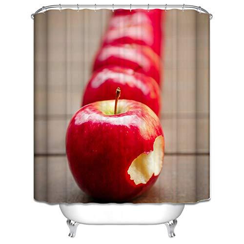 KnSam Duschvorhänge Waschbar Aus Stoff Wasserdicht Schimmelresistent Apfel 120X180cm Duschvorhang