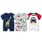 半袖ロンパース 赤ちゃん 綿 3枚セット 前開き 半袖 薄い 可愛い 赤ちゃん 肌着 夏 綿100% 男の子 着替え便利 新生児服 北欧スタイル (66/3-6M)