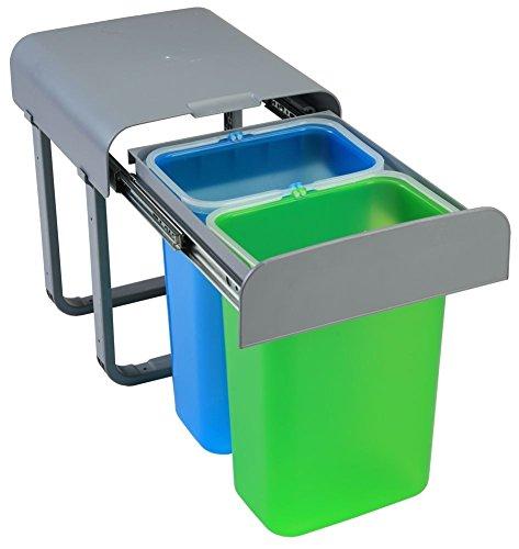 Afinternishop, PATT2-EKO - Cubo para debajo del fregadero con 2 cestas, corredero, extraíble